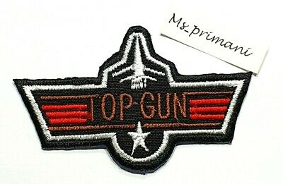 £1.85 • Buy Top Gun Patch Embroidered Iron / Sew On Badge Army Navy Air Force Fancy Dress