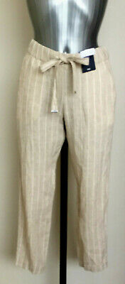£14.99 • Buy M&S Sizes 6 8 10 12 16 18 20  Linen Rich Striped Tapered Leg Peg Trousers Bnwt