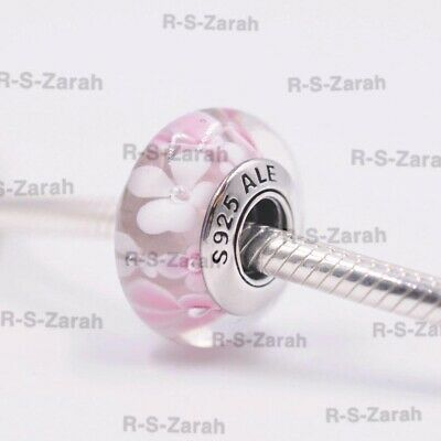 PANDORA MURANO GLASS CHARM White And Pink Flower BEAD S925 ALE New • 6£