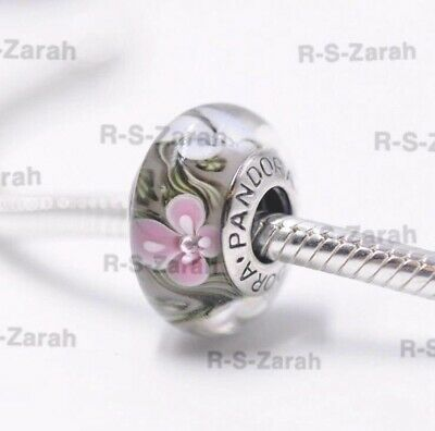 Pandora Murano Glass Charm Pink And White Flowers Bead Silver S925 ALE New • 6£