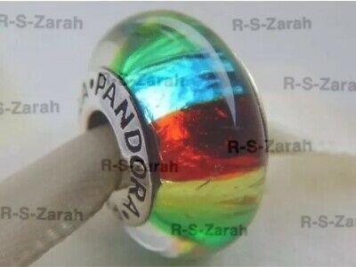 Beautiful Pandora Murano Glass Charm Bead Rainbow Silver S925 ALE New • 6£