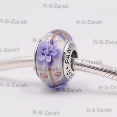 Beautiful Pandora Murano Glass Charm Purple Flowers Bead Silver S925 Ale,New • 6.50£
