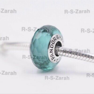PANDORA  Murano Glass Charm Teal Faceted  Bead Silver S925 ALE 791606 New, • 6£