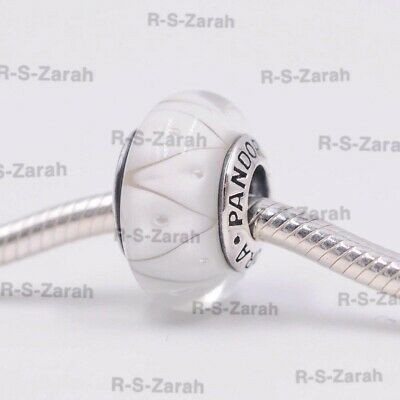Pandora Murano Glass Charm White Looking Glass Bead Silver S925 ALE 790921 New, • 6£