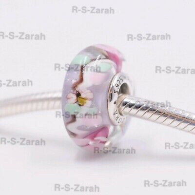 Pandora Enchanted Garden Murano Glass Charm Silver Bead S925 Ale 797014 New, • 7£