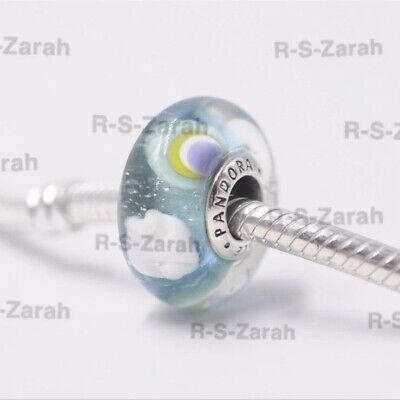 PANDORA Iridescent Rainbow Murano Glass Charm Bead S925 Ale 797013 New • 6.50£
