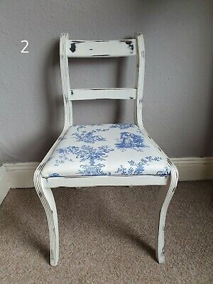 Shabby Chic Chair Painted Annie Sloan With Blue & Cream Fabric 4 Available • 15£