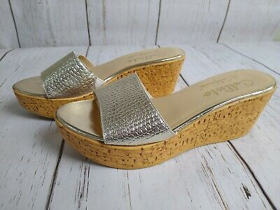 $19.95 • Buy Callisto Of California Women's Wedge Slip-On Sandals, Sz 9, Pale Gold, Cork Sole