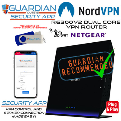 Netgear R6300v2 Guardian APP Nord VPN Router Works All ISPs Inc SkyQ Virgin • 134.97£