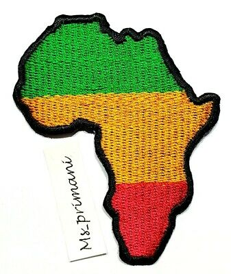 Embroidered Africa Rasta Reggae Flag Patch Iron/Sew On Badge Clothes 6 X 7.6 Cm • 1.75£