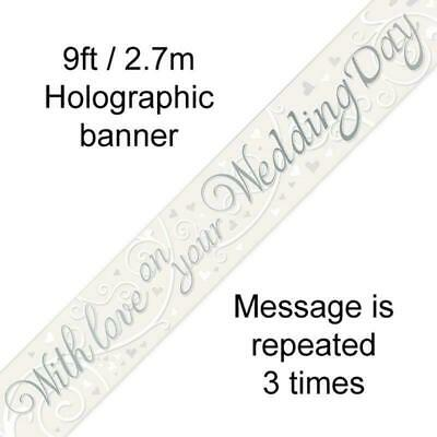 9ft-2.7m Banner With Love On Your Wedding Day Metallic • 1.59£