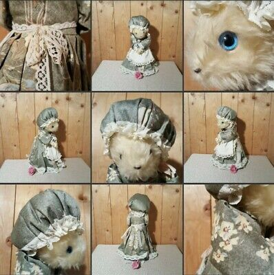 *Well Used* Lovely Vintage Mouse Teddy Figure▪MAXWELL MICE▪Floral Dress Bonnett • 6£