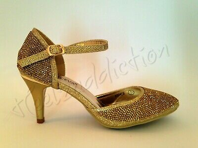 Ladies Diamante Sparkly Heel Ankle Strap Sandals Dancing Shoes Size 5 GOLD • 11.99£