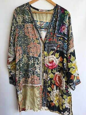 $169 • Buy JOHNNY WAS Boho Chic Kimono Fairy Floral Printed Top Duster Topper Jacket L