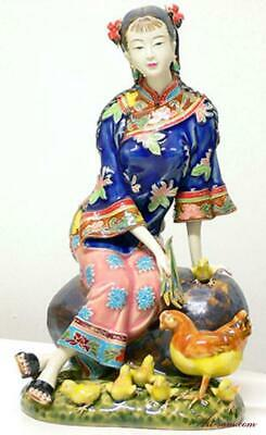 $ CDN101.88 • Buy Chinese Porcelain Oriental Lady Figurine - Rooster Feeding