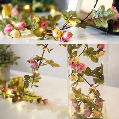 LED Artificial Rose Flowers Berry Fairy String Lights Party Wedding Decor Lamps • 5.99£