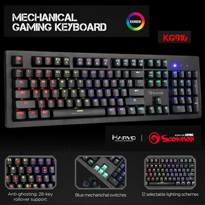 AU54 • Buy LED Gaming Mechanical Keyboard RGB Backlit USB Wired 104 Keys Blue Switch