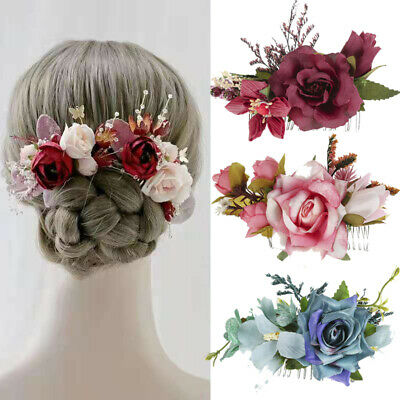 $ CDN4.44 • Buy Women's Flower Hair Clips Slide Pins Comb Wedding Floral Hair Accessories Party