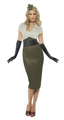 Ladies WW2 Army Pin Up Girl Costume Wartime 1940s Uniform Womens Fancy Dress XL • 15.50£