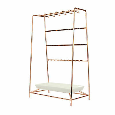 £9.49 • Buy Rose Gold Jewellery Stand With Ceramic Dish | 4 Tier Holder Display | M&W