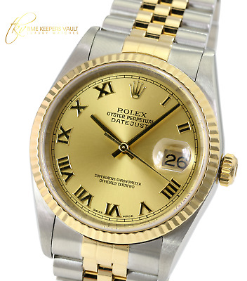 $ CDN8933.63 • Buy Rolex Mens Datejust 16233 Factory Champagne Roman Dial 36mm Automatic Watch