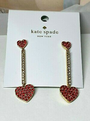 $ CDN24.18 • Buy Kate Spade New York  Red Heart Linear Earrings Free Shipping
