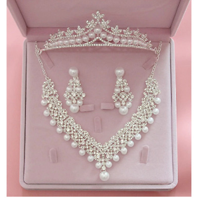 £34.74 • Buy  Silver Crown/tiara & Matching Jewellery Set, Clear Crystals, Pearls, Wedding