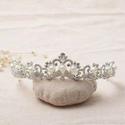 £27.14 • Buy Stunning Silver Crown/tiara With Clear Crystals & White Pearls, Bridal Or Racing