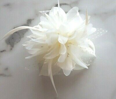 Ivory Cream Flower Feather Hair Fascinator Races Ascot Wedding Slide In Comb 31c • 3.95£