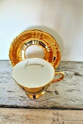$ CDN15.58 • Buy 1 Only GOLD FIRED  ANNIVERSARY  TEACUP & SAUCER - ROYAL WINTON Grimwades England
