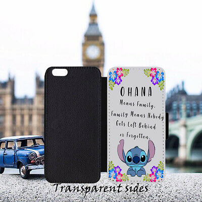Lilo Stitch Ohana Family Quote Leather Flip Wallet Phone Case  • 9.99£