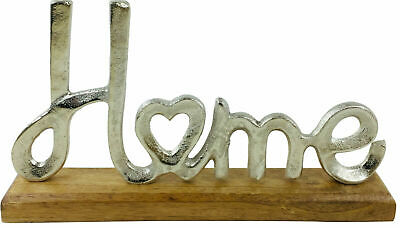 Silver Metal HOME Letters Word Ornament On Wooden Base Aluminium Home Decor • 15.95£