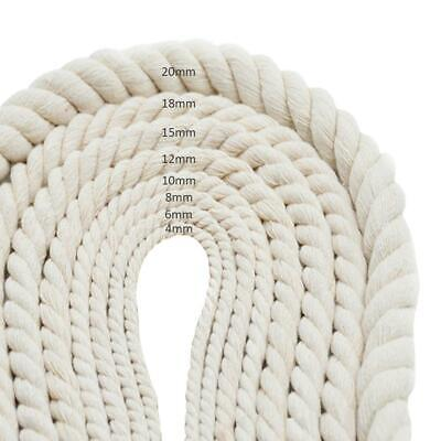 AU13.27 • Buy 4-20mm Macrame Rope Natural Beige Cotton Twisted Cord Artisan Hand Craft 20/50M