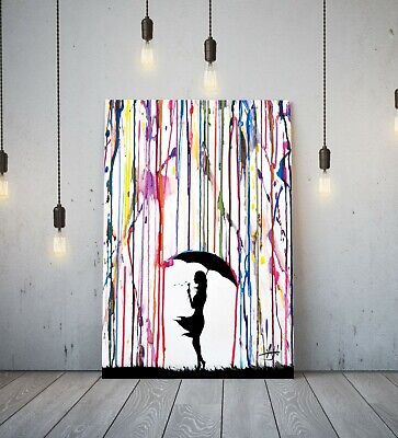 Banksy Coloured Rain Girl Umbrella - Deep Framed Canvas Wall Art Graffiti Print • 11.99£
