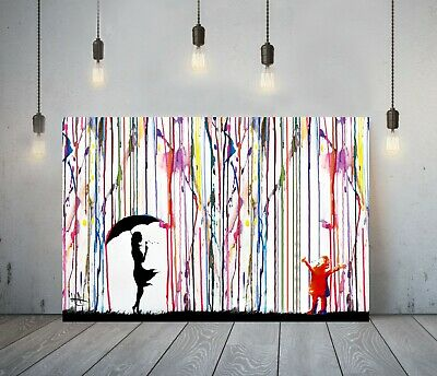 Banksy Coloured Rain Girl Umbrella 2-deep Framed Canvas Wall Art Graffiti Print • 14.99£