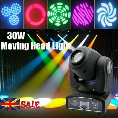 30W LED RGBW 8 Pattern GOBO Stage Lighting Moving Head DMX512 Disco DJ Party • 70.99£