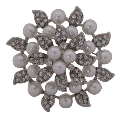 £9.99 • Buy Silver Plated Layered Crystal & Pearl Flower Brooch Wedding Brooch Bouquet Cake