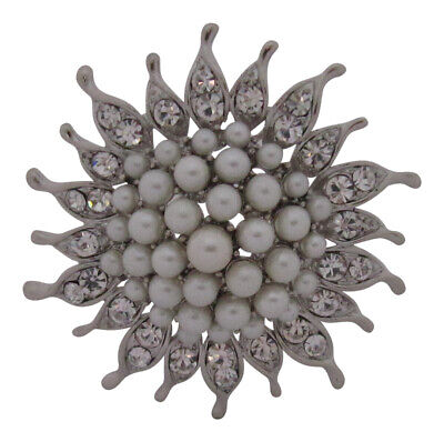 £9.99 • Buy Silver Plated Crystal And Pearl Sunflower Brooch Wedding Cake Decoration Broach