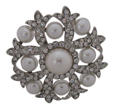 £9.99 • Buy Silver Plated Crystal And Pearl Round Brooch Wedding Cake Decoration Broach