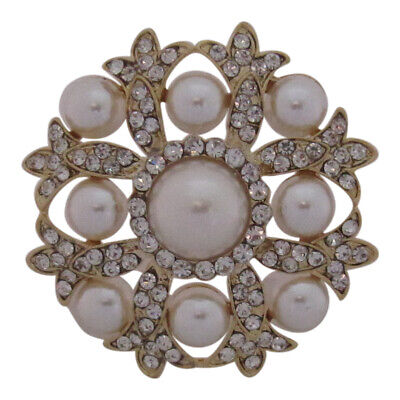 £9.99 • Buy Gold Plated Crystal And Pearl Round Brooch Wedding Cake Decoration Broach Pin