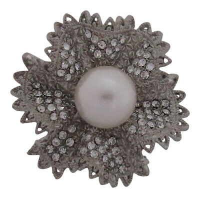 £8.99 • Buy Diamante Set Chunky Pearl Fluted Brooch Wedding Cake Decoration Broach Pin