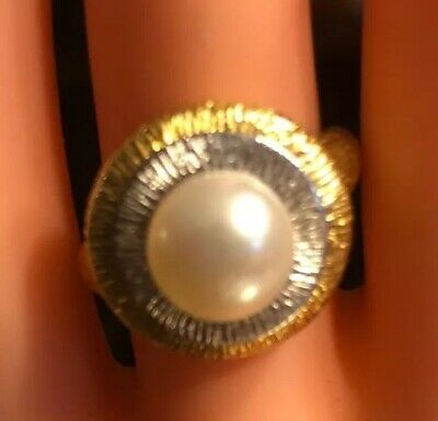 """$279 • Buy 14kt Gold Mabe Pearl Ring- Size 8-81/4 """"ISREAL"""" 4.42 Grams - Total Ring Weight."""