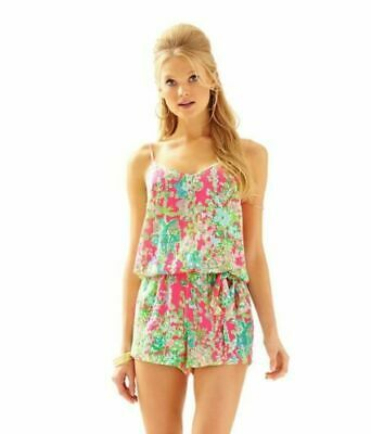 $24.50 • Buy LILLY PULITZER Women's Pink Southern Charm DEANNA Belted Romper Sz S EXC