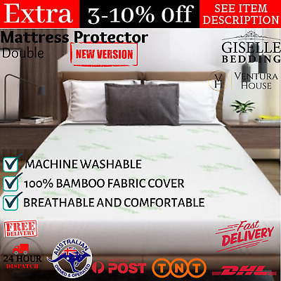 AU42.84 • Buy Luxury Bamboo Mattress Bed Matress Protector Waterproof Breathable Cover Double