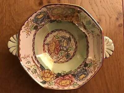 £10 • Buy Maling Ware Peony Rose Lustre Hexagonal Double Handed Bowl Vgc