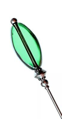 Green Glass Hat Pin Vintage Antique Tibetan Silver Style 3  & Pin Protector • 2.99£