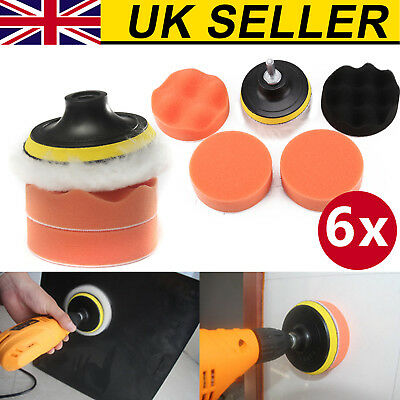 6X 3Inch Polishing Buffing Pad Kit Car Polishing Buffer Drill Adapter Tool  UK • 4.79£