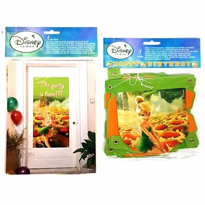 £3.99 • Buy Set Of 2 Disney Tinkerbell Party Banners - Fairy Party Birthday Decorations