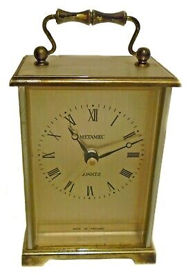 Vintage METAMEC Mantel Carriage Clock Quarts Movement Made In England Working • 20£