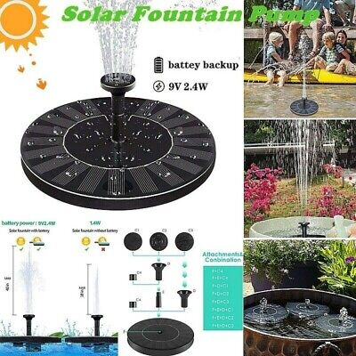 Solar Fountain For Bird Bath 2.4W Garden Water Feature Pump With Battery Backup • 16.99£